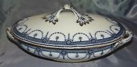 Wood & Sons England Venice Flow Blue Transferware Covered Vegetable -Gold Trim