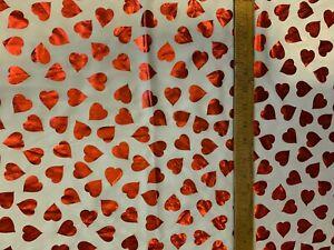 """White Satin Fabric  24"""" x 42"""" Red Shiny Hearts"""