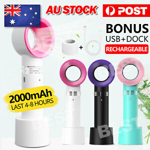 360°Rechargeable Portable Bladeless Hand Held Cooler Mini USB No Leaf Handy Fan