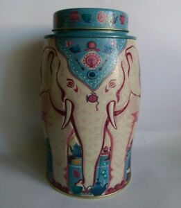 WILLIAMSON Elephant Tea Caddy Tin  -  Alice in Wonderland Mad Hatters Tea Party