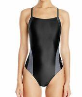 Speedo Women's Swimwear Black Size 12 Contrast Cut Out Back One-Piece $49 #322