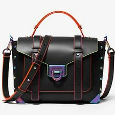 Michael Kors Manhattan Black Oil Slick Neon Medium Satchel Bag