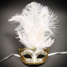 ILOVEMASKS Venetian Gold Mardi Gras Black White Feather Masquerade Party Mask