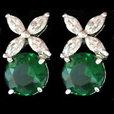 18K White Gold Plated Cubic Zirconia Stud Earrings Green Emerald