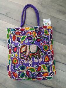 Gringo Fairtrade Purple Elephant Embroidered Shoulder Bag - Ex-Sample