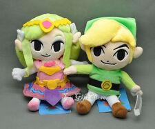 "2PCS Waker Link & Princess 7-7.5"" Legend of Zelda Plush Doll"