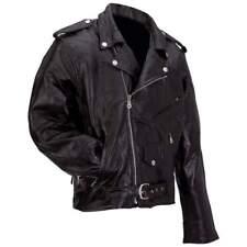 Men's Genuine Buffalo Leather Classic Jacket Coat Black Motorcycle Biker Patch