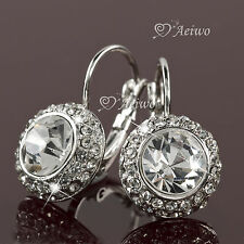 NEW DROP EARRINGS 18K WHITE GOLD GF SIMULATED DIAMOND SPARKLING