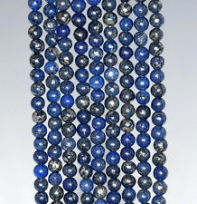 4MM BLUE PYRITE INCLUSIONS GEMSTONE GRADE AA ROUND LOOSE BEADS 15.5""