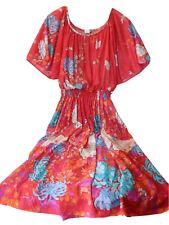 Vintage 70s Women's Butterfly Summer Dress Medium