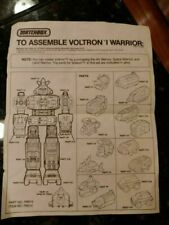 vintage Matchbox VOLTRON I SPACE WARRIOR INSTRUCTIONS SHEET
