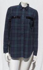 J CREW Women's Tartan Plaid Cotton Beaded Long Sleeve Blouse Shirt Tunic Top 8