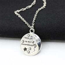 Antique Silver Sun and Moon Face Charm Pendant Necklace Choker Necklace Gift New