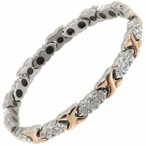 New Sisto-X Ladies Titanium Magnetic Bracelet Diana Rose Gold Crystals Gift Box