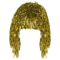 Gold Tinsel Wig Shiny Metallic Foil  Fancy Dress Costume Party  Accessory