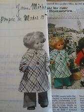 T17 PATRON POUPEE J.MICHEL MODES & TRAVAUX MANTEAU CHIC NOVEMBRE 1976