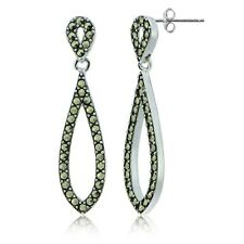 Sterling Silver Marcasite Open Double Teardrop Dangle Earrings