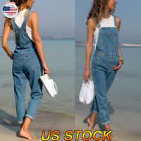 Womens Ladies Dungarees Overalls Straps LLlong Jeans Trousers Denim Jumpsuit USA