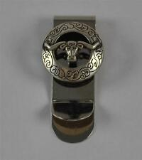 Long Horn Bull & Engraving Silver Tone Money Clip By Charlies Leather Company