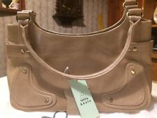 Tommy & Kate Retro Style Oatmeal Leather Handbag - Brand New - Free UK postage