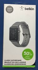 New Belkin Classic Leather Apple Watch 38mm Band for Series 1 / 2 / 3 - Gray