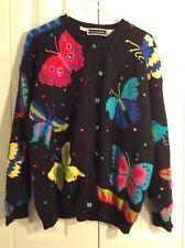 Christine Foley Women Butterfly Design Black Cardigan Sweater Size 2 (Plus Size)