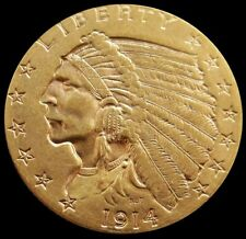 1914 P GOLD US $2.5 DOLLAR INDIAN HEAD QUARTER EAGLE COIN SCARCE DATE