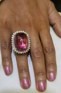 Unique Vintage Style Large 45.86CT Cabochone Pink Tourmaline With Shiny CZ Ring