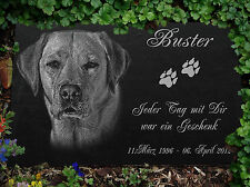 """Tombstone Grave Stone Engraving Animal Dog Your Photo Text 12""""x8"""" / 30x20 Cm"""