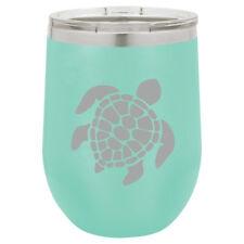 Stemless Wine Tumbler Coffee Travel Mug Glass Double Wall Insulated Sea Turtle