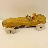 Vintage Auburn Rubber Yellow Indy Race Car Toy