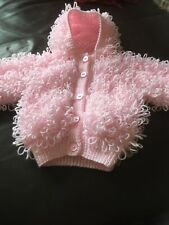 Hand Knitted Baby Loopy Hooded Cardigan Size 3/6 Months