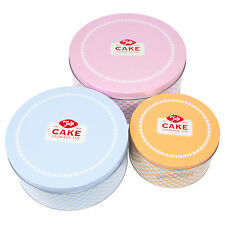 Set of 3 Retro Round Cake Storage Tins Conatiners Carrier Caddy Cupcake Birthday