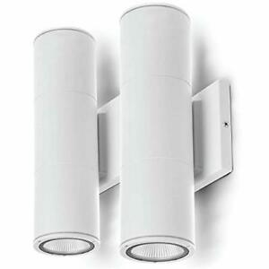 Security Led Modern Wall & Porch Sconce Light 2Set White