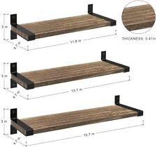 Set of 3 Rustic Wood Floating Shelves Wall Mounted Farmhouse Wall Shelf Bathroom