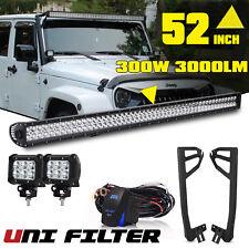 """52"""" LED LIGHT BAR + MOUNT BRACKET 4"""" Fog Pods 07-15 FOR Jeep JK Sahara Freedom"""