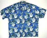 VTG Rayon Hawaiian Shirt XL 90s Blue Hawaii Whte Orchid Kurt Cobain Aloha Grunge