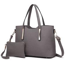 Fashion Ladies 2pcs Handbag Clutch PU Leather Tote Shoulder Bag Satchel Wallet Grey