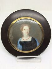 c1800 Georgian Gold Portrait Miniature Painting Coral Necklace Lady Signed