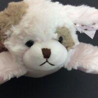 "Bearington Baby Pink Tan Puppy Dog Plush Rattle Polka Dot Pink Bow 9"" Satin"