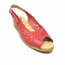 Women's Spring Step Slingback Wedge Sandals Shoes Size 40 EU/9.5-10 US Red H1