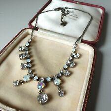 Vtg Inspired Pilgrim Necklace Sparkly Rhinestone Collar Length Auora Borealis
