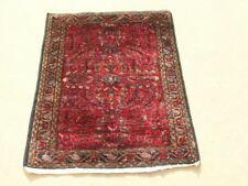 "Antique Persian Lilahan Oriental Rug Carpet Vase Flower Design 24x35"" Reds Blues"