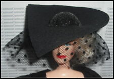 HAT BARBIE DOLL CRUELLA DEVIL BLACK BRIM HAT POWER PINSTRIPES ACCESSORY CLOTHING