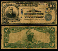 Bluefield WV $10 1902 PB National Bank Note Ch #11109 Bluefield NB VG