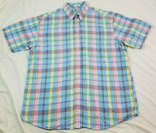 ORVIS Mens Shirt XL Linen Blend Blue Pastel Plaid Button Front Short Sleeve SS