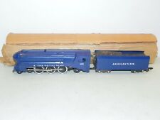 American Flyer S Gauge #350 Royal Blue Steam Locomotive & Tender RUNS