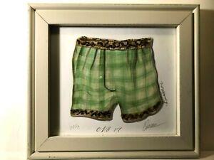 Framed Art Print of Green Mens Boys Boxers No 17 by Kolene Spicher, Signed