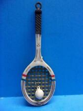 Vintage Plastic Tennis Racket & Ball Necklace Keychain Pendant Articulated Sport