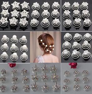 12 Silver Wedding Bridal Crystal Hair Twists Swirls Pins Spirals Pearl Flower